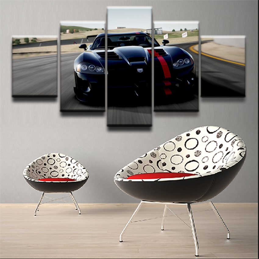 Modern Poster Home Decorative Framework Wall Art Pictures For Living Room 5 Piece Cool Sports Car Painting Canvas HD Printed