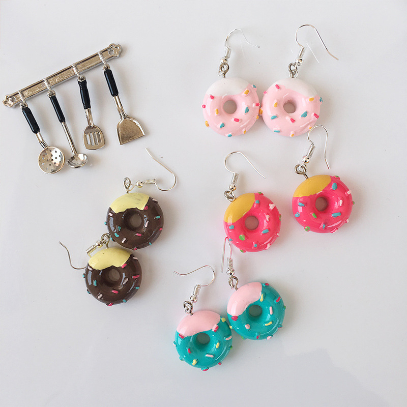 Fashion Cute Colorful Crystal Fresh Cake Donuts Drop Earrings For Women Kids Children Girl Lovely Cartoon Handmade Resin Jewelry