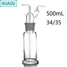 HUAOU 500mL גז כביסה בקבוק Drechsel קרקע פה 34/35 ברור זכוכית מעבדה כימיה ציוד