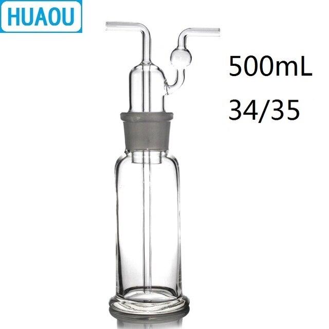 Huaou 500 ml 가스 세척 병 drechsel 그라운드 입 34/35 투명 유리 실험실 화학 장비