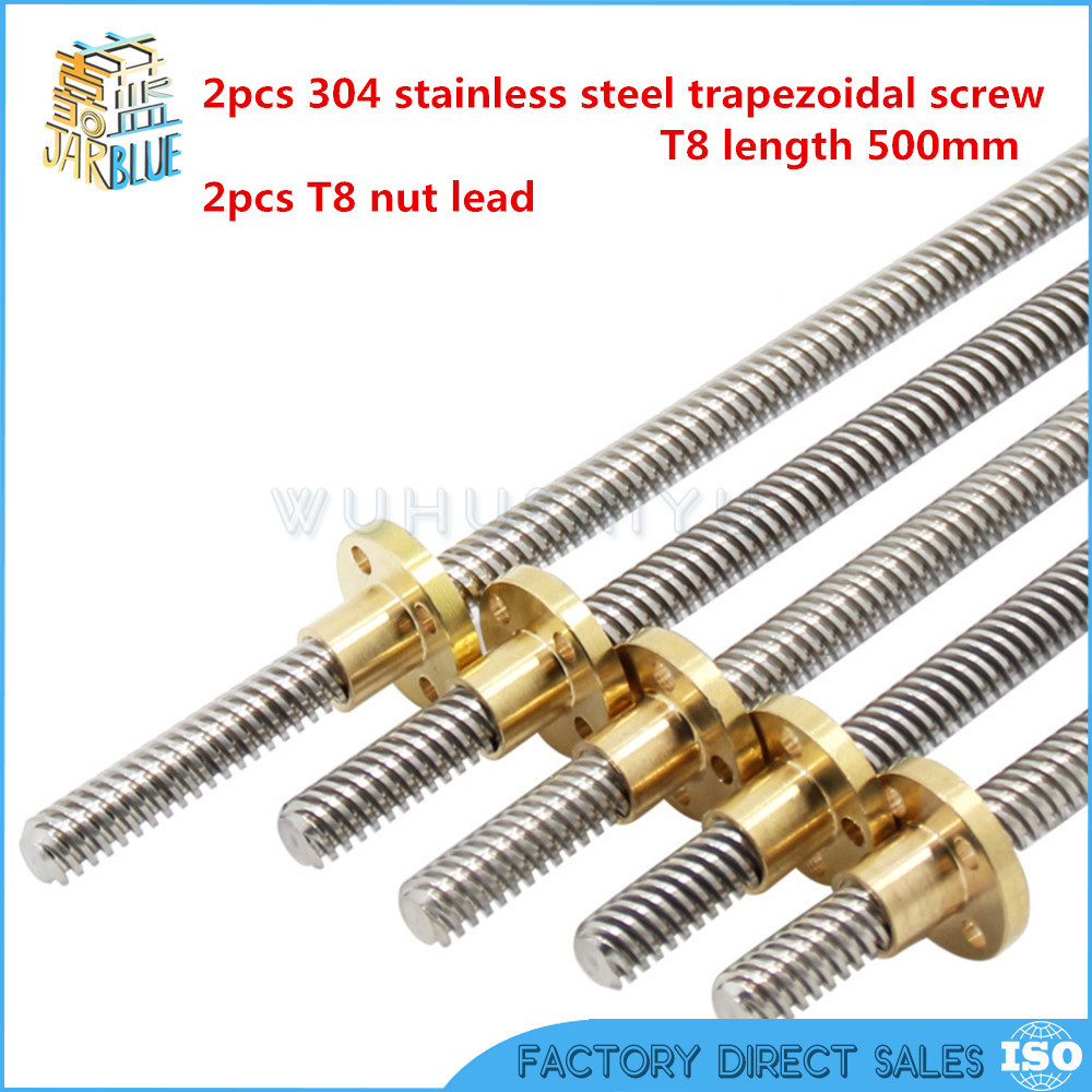 Free shipping 2pcs 304 stainless steel T8 screw length 500mm lead 8mm trapezoidal spindle screw +2pcs T8 nut lead