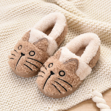 Dropshipping New Toddler Baby Home Slippers Girls Cute Cat Cotton Shoes Winter Children Keep Warm Slippers цена 2017