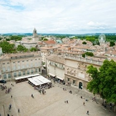 Aerial view of square named for John XXIII  Avignon  Vaucluse  Provence-Alpes-Cote d'Azur  France Print by Panoramic