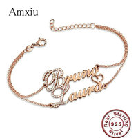 Amxiu Custom Two Names Bracelets 925 Sterling Silver Bracelet Personalized Double Chains Bracelets Zircon Jewelry for Women Gift