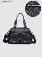 CARANFIER Men's Travel Bag Business Genuine Cowhide Leather Briefcase Shoulder Messenger Bag Vintage Quality Crossbody Handbags