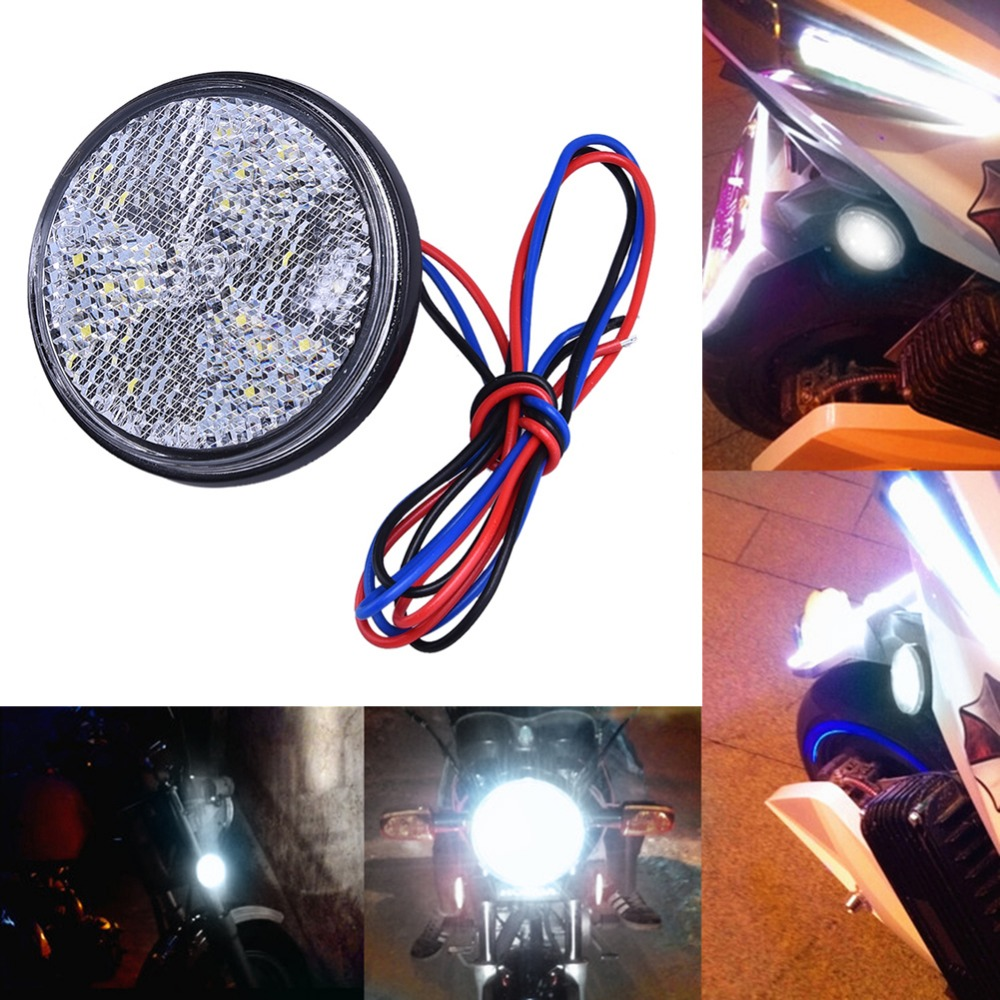 Car Motorcycle 24SMD LED Tail Brake Turn Signal Light Lamp Round Reflector Motobike LED Lights Red White Yellow Light 12V