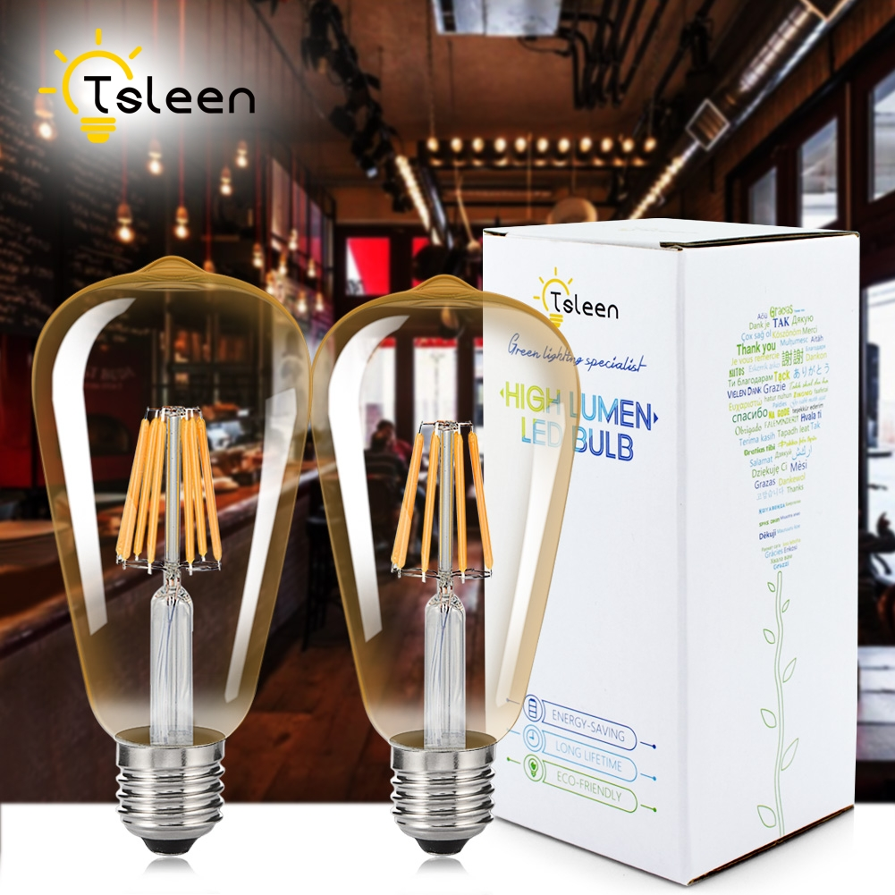 TSLEEN 1PC ST64 E27 E26 Dimmable Candle Filament LED Light COB LED Lamp 16W Edison Retro Bulb Golden Glass White 110V 220V lightinbox good glass bulb lamp candle light lamp e27 e14 antique led edison bulb 220v retro led filament light vintage led