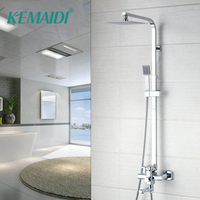KEMAIDI 8 Inch Shower Faucet Set Shower Head 3 Function Faucet Cartridges Valve 360 Degree Rotation Tub Spout Mixer