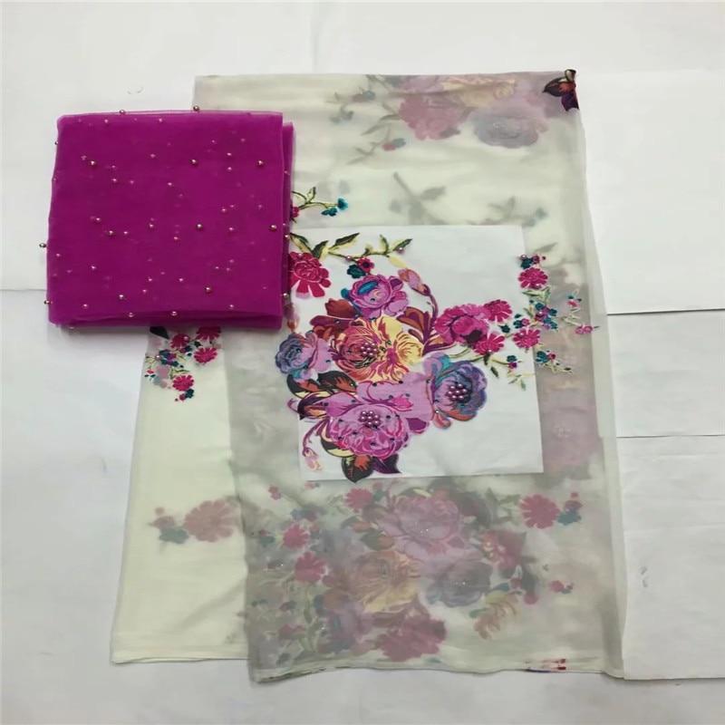 Wysokiej jakości jedwab tkaniny dla pani sukni haftowane george tkaniny jedwabne afryki metaliczne tkaniny jedwabne 114 cm/8mm 5 + 2 metrów LXE03123 w Materiał od Dom i ogród na  Grupa 3
