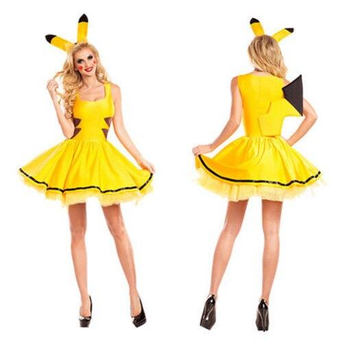 Pokemon Pikachu Womens Dress Fancy Cosplay Costume Sexy Cute Yellow Skirt Headwear Cartoon Halloween