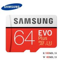 SAMSUNG EVO Plus TF Card Microsd 64GB 100MB S Memory Card 4K UltraHD UHS I U3