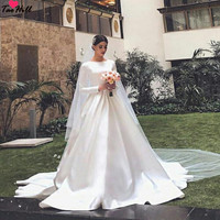 TaoHill Wedding Reception Dress A line O neck Beige Muslim Wedding Dress Long Sleeves with Train