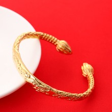Dragon Bangle 24K Gold African Real Men Jewelry Accessories Dragon Opening Embossing Bracelets Bangles For Father Men