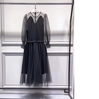 European Fashion Spring Autumn Dress High Quality Women Sexy Sheer Mesh Knitted Patchwork Long Sleeve Casual Sweater Dress Club