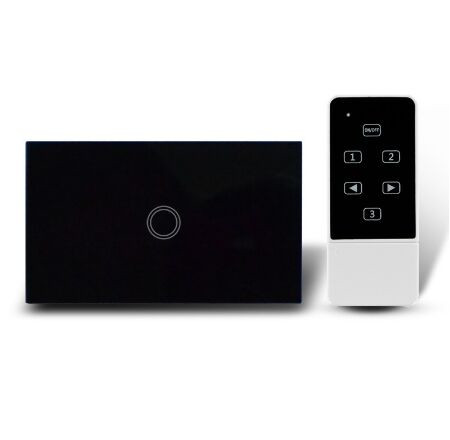US Standard Touch Remote Control Light Switch, 1Gang1Way Black Pearl Crystal Glass Wall Switch, With LED Indicator, MG-US01RC white 1 gang 1 way led crystal glass panel light touch screen remote switch for light with wireless remote control 110v 220v