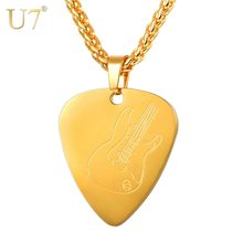 U7 Guitar Pick Pendant Necklace Stainless Steel Collares Love Shape Guitar Pattern Chain for Women Men Girls Boys Gift P1191(China)