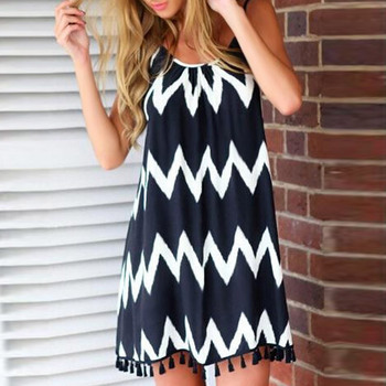 Black White Chiffon Backless Mid Dress with Tassel Hem