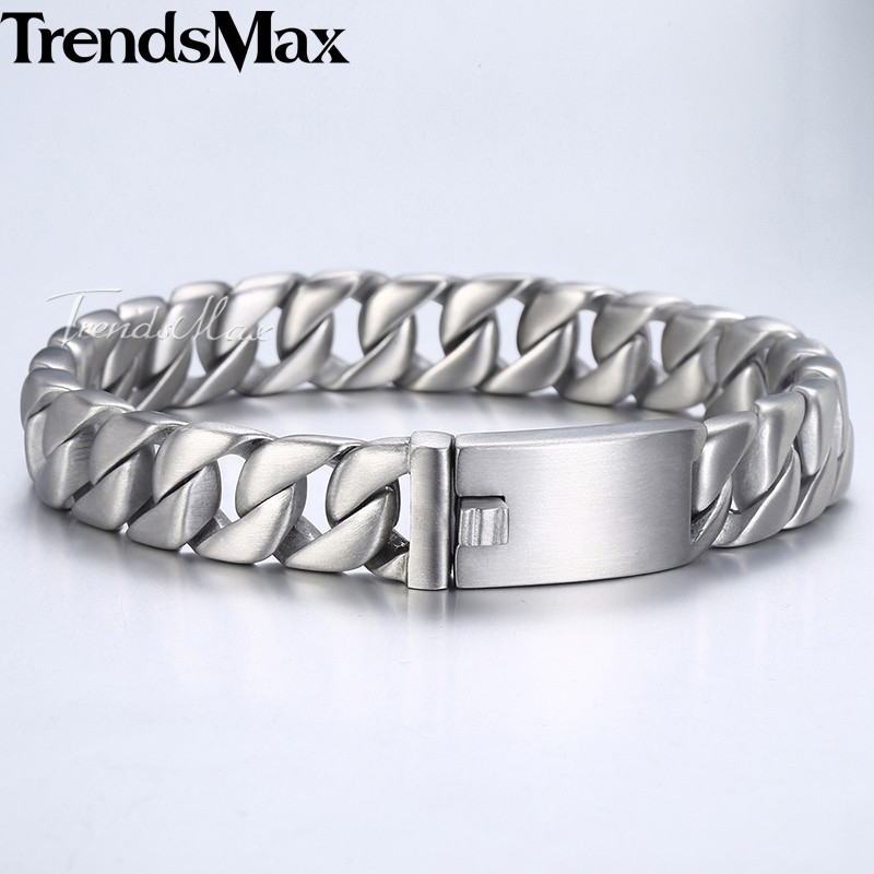 Trendsmax Fashion New Curb Link Chain Stainless Steel Bracelet Men 11mm Mens Bracelets 2018 Bicycle Chain Male Wristband HB162