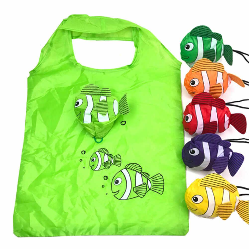 나일론 재사용 쇼핑 가방 foldable 에코 가방 열 대 물고기 올려 놓 가방 대용량 로즈 스토리지 핸드백 재활용 주머니