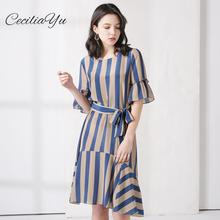 Long Pleated Dresses Women Striped Silk Dress Female 2019 Summer New Style Slim Waist Fishtail 100% Ceciliayu