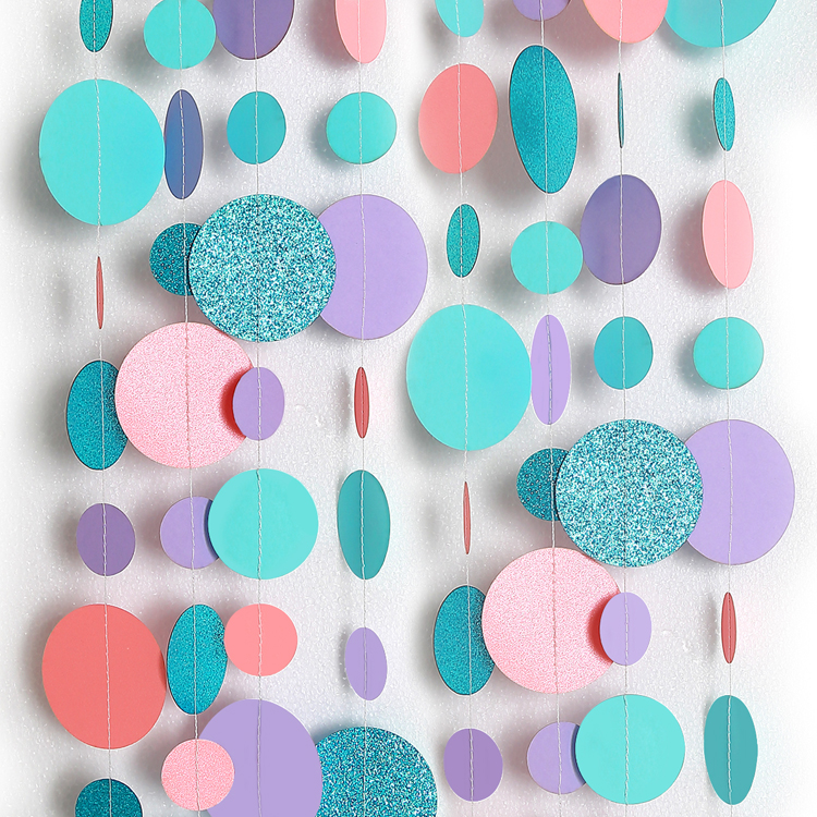 4M Glitter Blue Pink Purple Big Circle Garland For Wedding