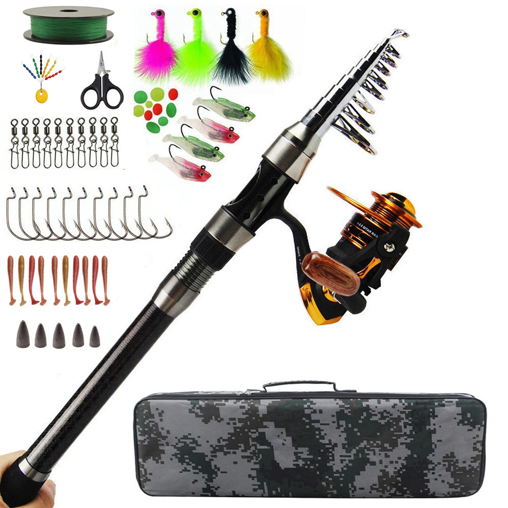 Telescopic Spinning Rod Combos Fishing carbon firber Rod and Reel Combos Full Kit Fishing Gear with Carrier fishing BagTelescopic Spinning Rod Combos Fishing carbon firber Rod and Reel Combos Full Kit Fishing Gear with Carrier fishing Bag