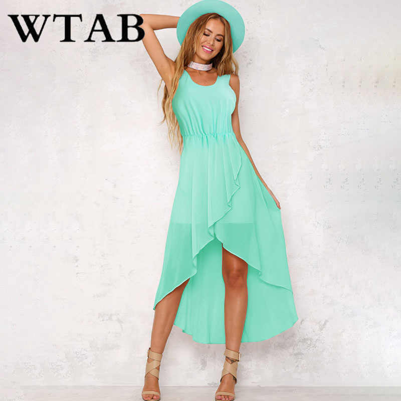 3f79aea865 WTAB 2018 new elegant summer dress sleeveless o-neck solid fashion women  dress asymmetry chiffon