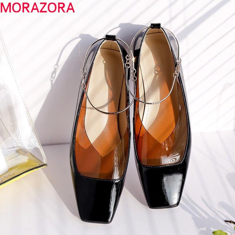 MORAZORA 2019 top quality patent leather pvc women flat shoes square toe summer shoes comfortable fashion