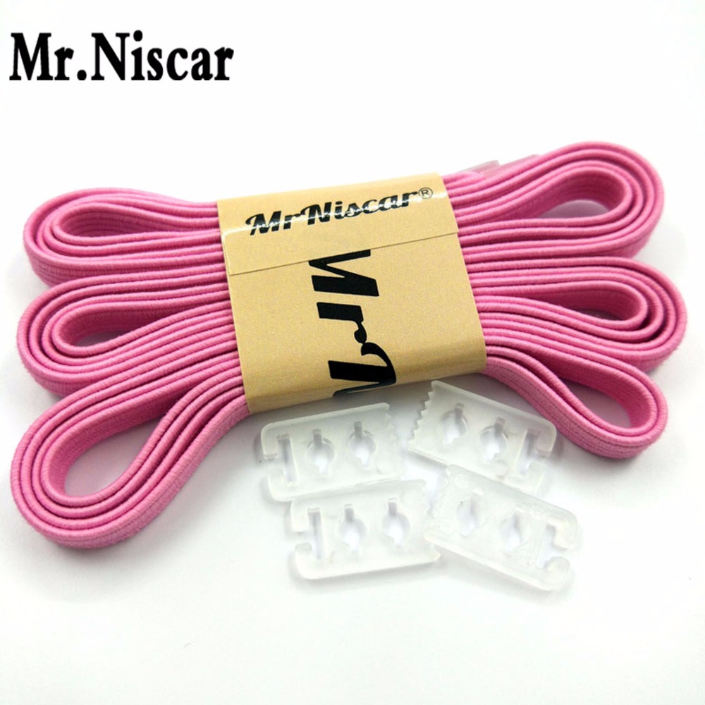Mr.Niscar 1 Pair High Quality Elastic Lazy Laces Nylon Pink No Tie Shoelaces for Adult Kids Sneaker Silicone Rubber Shoe Laces high quality 1 pair right