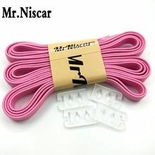 Mr. Niscar 1 paar hoge kwaliteit elastische lui veters nylon roze geen stropdas veters voor volwassen kinderen sneaker siliconen rubberen veters