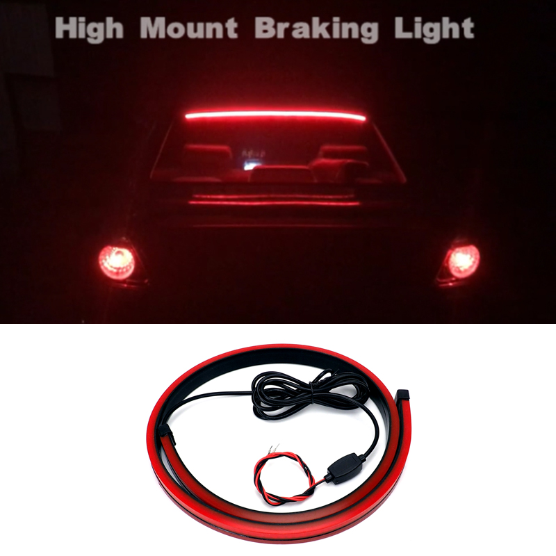 Us 9 28 8 Off 12v Car Brake Light Led Light Strip Safety Warning Light Stop Signal Lamp Red Flowing Flashing Rear Tail High Mount Stop Lamp In Car
