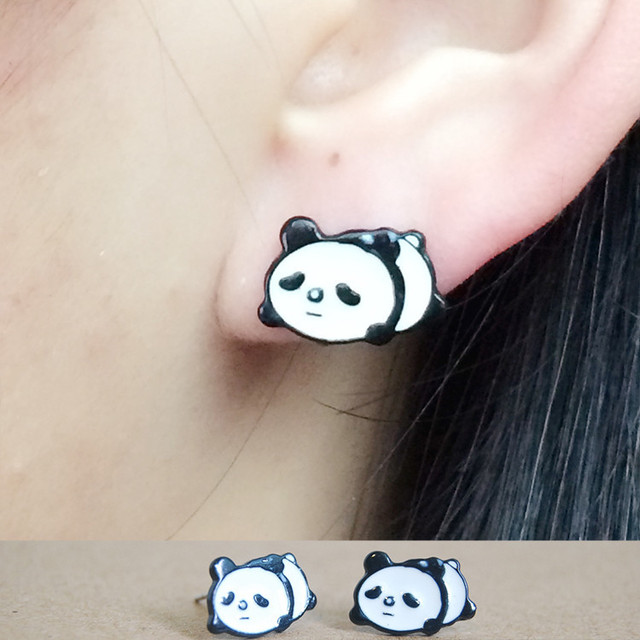Fashion Cute Enamel Panda Stud Earring Lovely Cartoon Animal Earrings For Women Ear