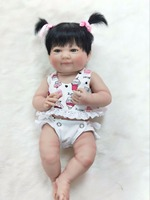 35cm Full Silicone Body Reborn Baby Doll Toys Lifelike 14inch Mini Vinyl Princess Girl Babies Doll