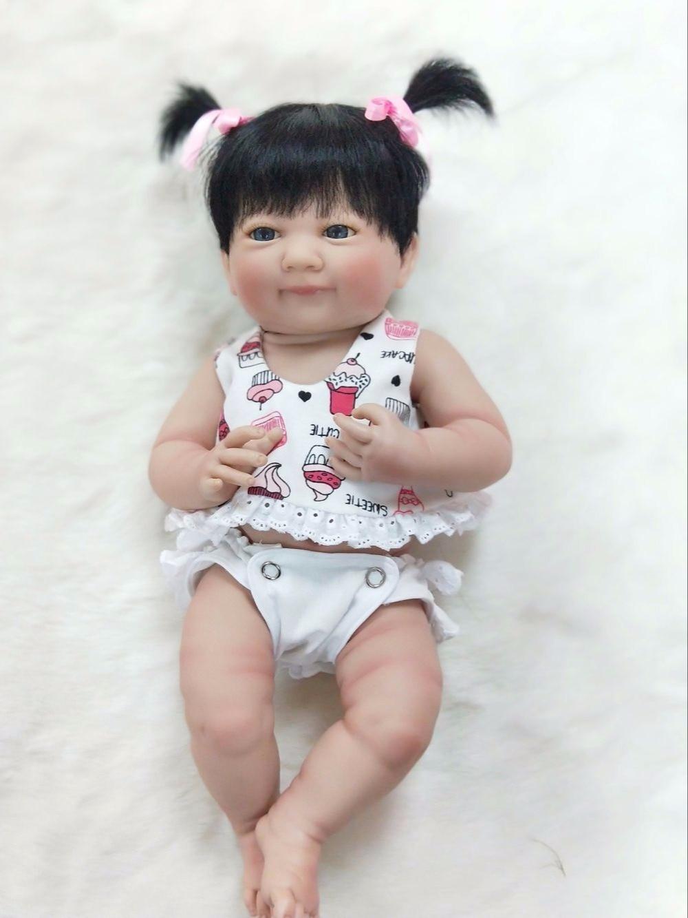 35cm Full Silicone Body Reborn Baby Doll Toys Lifelike 14inch Mini Vinyl Princess Girl Babies Doll Birthday Gift Bathe Toy
