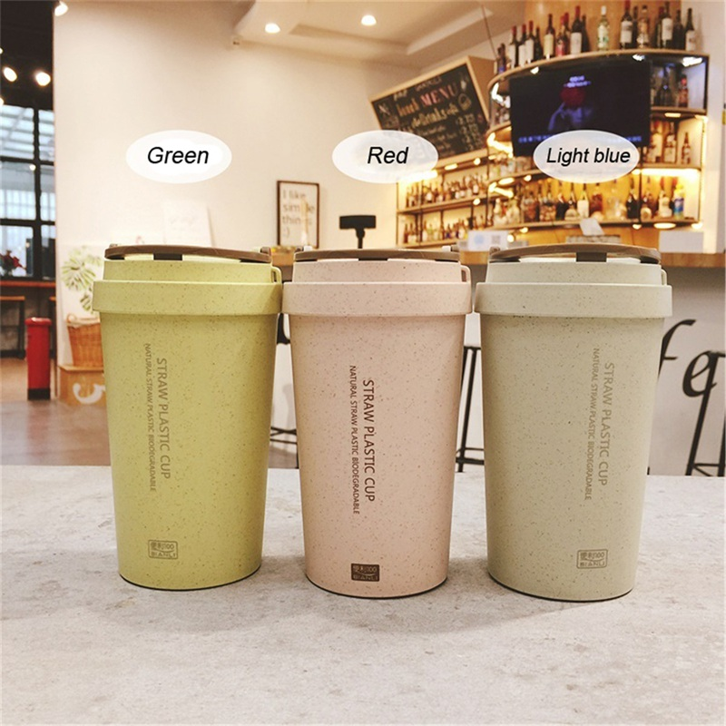 400ml Double Wall Wheat Straw Cup Travel Coffee Tea Milk Cup Leak Proof Straw Plastic Cup with Lid Food Grade Drinking Cups Кубок