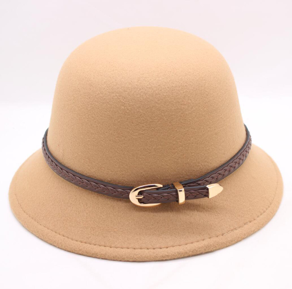 Motiviert Bing Yuan Hao Xuan Herbst Winter Wollfilz Hut Weibliche Hüte Kuppel Gürtel Frauen Fedora Bowler Hüte Modischer In Stil;