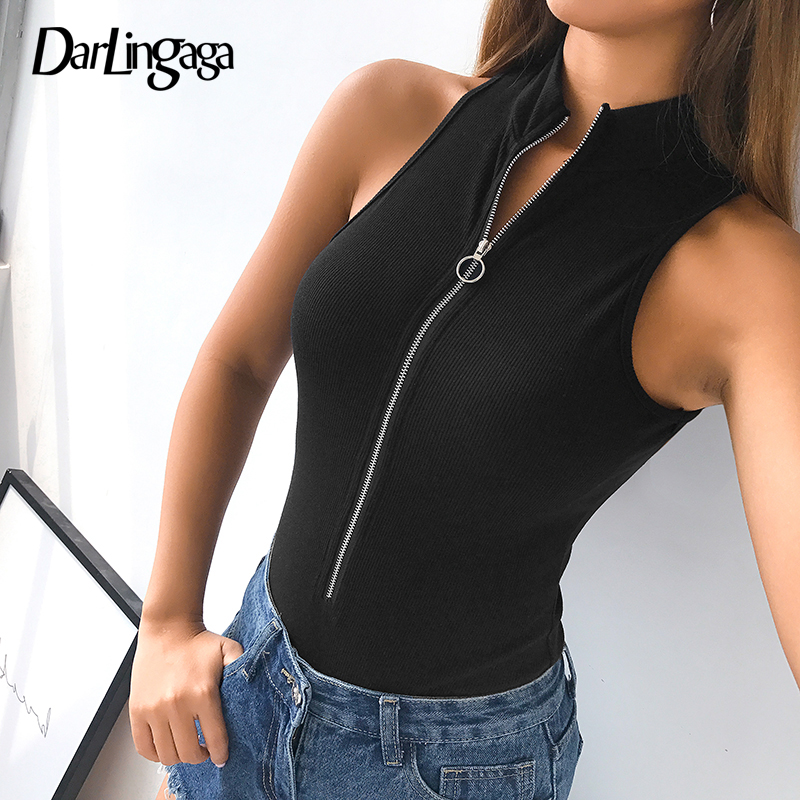 Darlingaga Fashion ribbed black tank summer body women bodysuit zipper sleeveless bodycon rompers womens   jumpsuit   2019 bodysuits