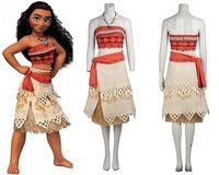 2016Xmas Gift Polynesia Princess Moana Cosplay Costume Carnival Christmas Costumes Movie Moana Dress Custom Made Custome