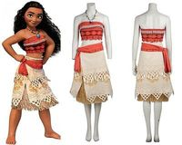 2016Xmas Gift Polynesia Princess Moana Cosplay Costume Carnival Christmas Costumes Movie Moana Dress Custom Made Custome