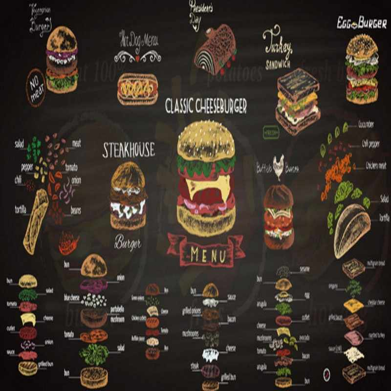 Papel pintado de mural personalizado a mano pintado de color tiza hamburguesa foto mural personalizado Cocina Rápida tienda de comida café