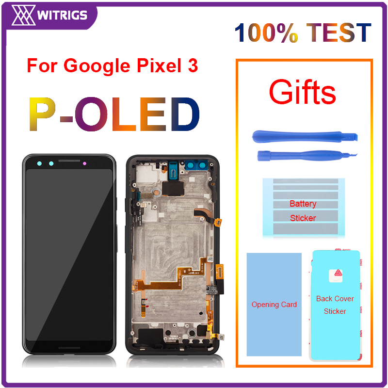 For Google Pixel 3 XL 3XL LCD Display Touch Screen Digitizer Assembly Replacement With frame Witrigs