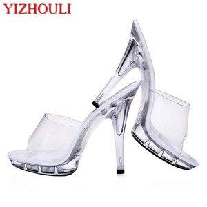 Nieuwe, Mooie, See-Through Hakken, 12-15 Cm Sexy Model Sandalen, Paaldansen Schoenen(China)