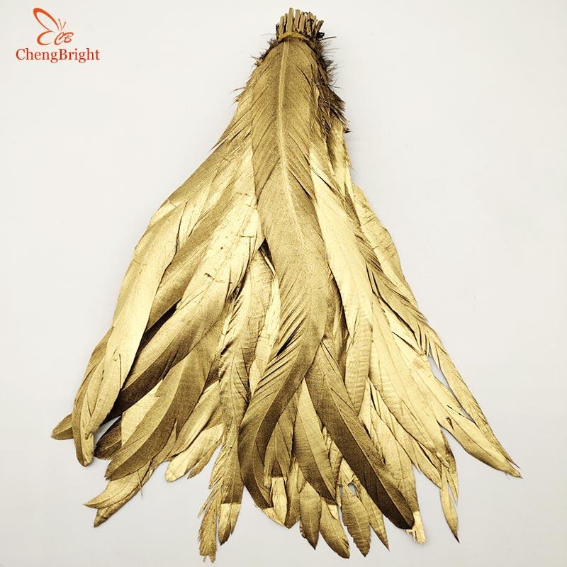 ChengBright الجملة جيدة 100 قطعة 30 35 سنتيمتر الذهب الطبيعي الديك ريش الذيل للديكور الحرفية ريشة عيد الميلاد Diy ريشة-في ريشة من المنزل والحديقة على  مجموعة 3