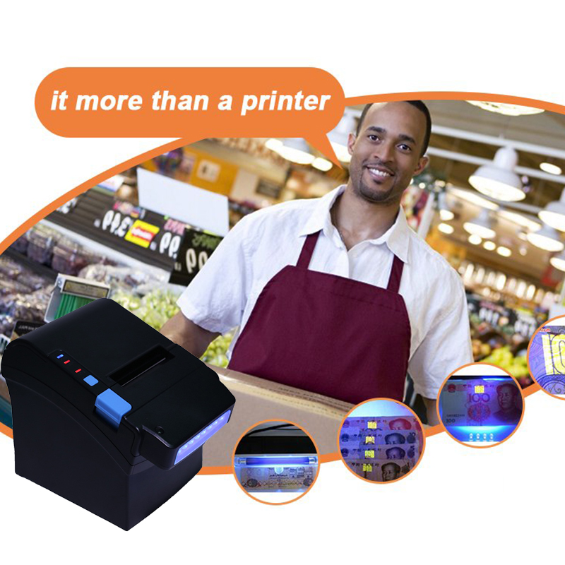 GZ8003 Pos printer 3 Inch 80mm thermal receipt Small ticket barcode printer Automatic paper cutter function Money Detector techlogic 57x40 thermal paper supermarket pos machine paper 57 40 cashier register paper 5740 restaurant small ticket paper