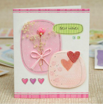 1pc/lot Size: 7.5x9cm Beautiful mini greeting card with envelope Handmade card Mix designs Gift card Good quality  (SS-946)