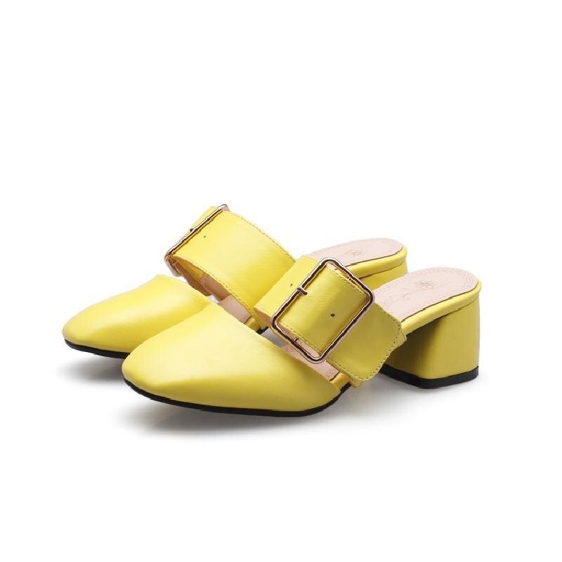 Noir et blanc rouge et jaune avec talon et bout carré boucle de ceinture chaussures d'été en cuir pour femmes hors des sandales