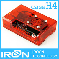 case H4: Raspberry PI 3 model B Clear Red Case Cover Shell Enclosure Box for Raspberry PI 2 Model B and Model B+