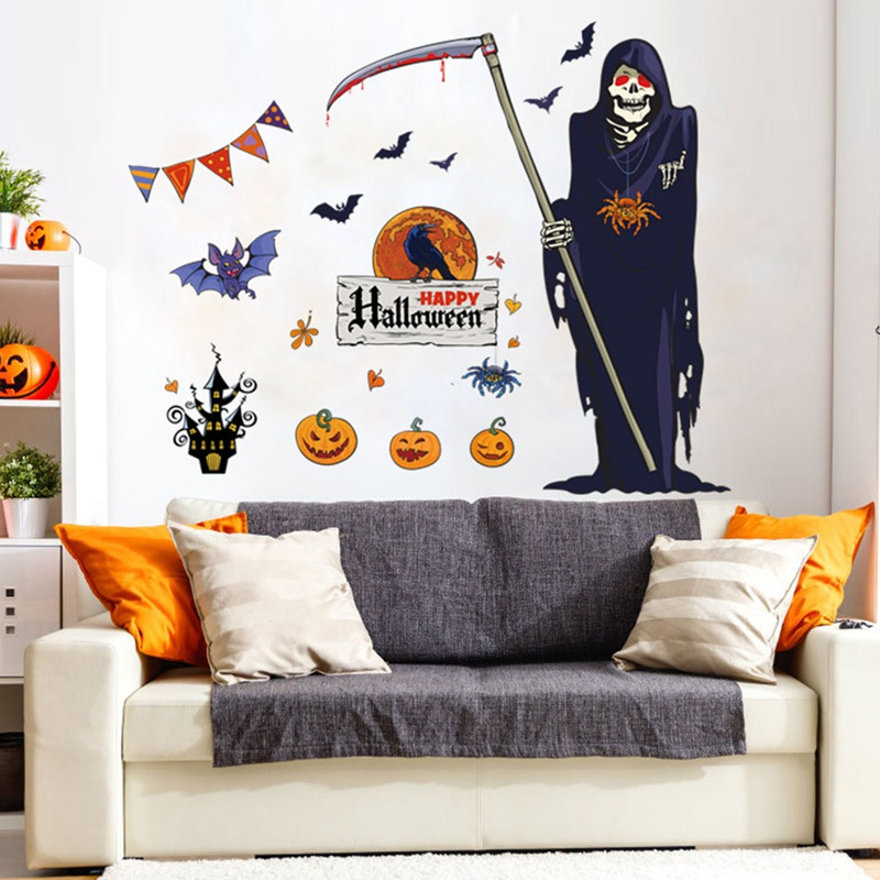 Halloween Witch Background Grim Reaper Wall Stickers Decorated Living Room Bedroom Wall Stickers