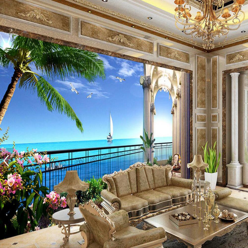 murals wall 3d decor living abstract bedroom background rolls sea wallpapers wallcoverings balcony