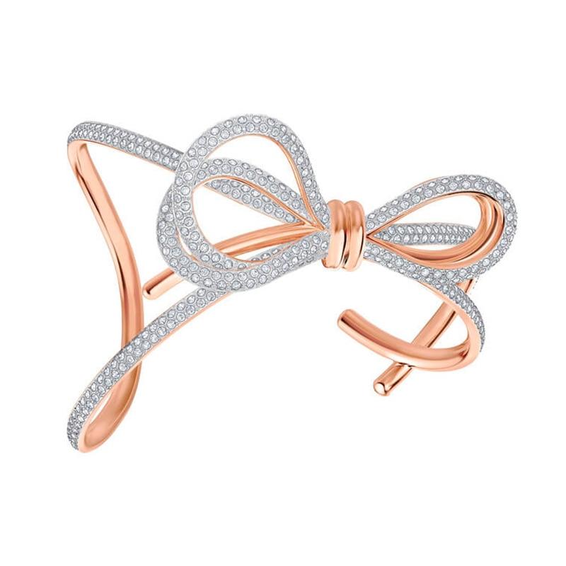 Original 1:1 copie bijoux arc à vie deux couleurs en trois dimensions large Bracelet autrichien Zircon densément intégré Bracelet